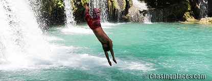 Places to Visit: Places to Visit: Airborne at the Cambugahay Falls, Siquijor Island, Philippines