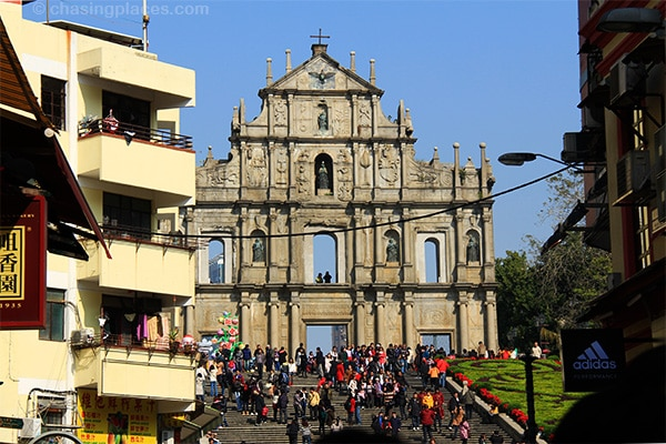 The famous Ruins of St. Paul's during a busy morning in central Macau