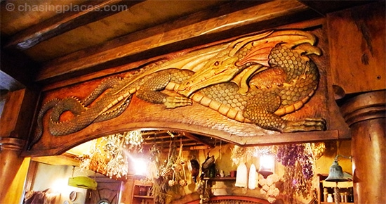 Impressive woodwork can be seen all over Green Dragon Inn's interior