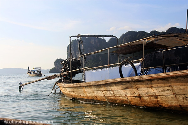 A longtail boat at spectacular Railay Beach