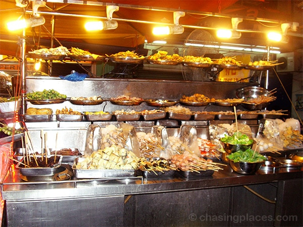 The wide selection of food sold at Petaling Street, Kuala Lumpur