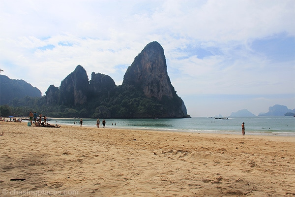 Railay beach with its golden sand and surreal limestone walls