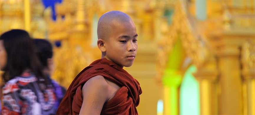Slider-A-young-Monk-at-Shwedagon-Pagoda-in-Yangon,-Myanmar