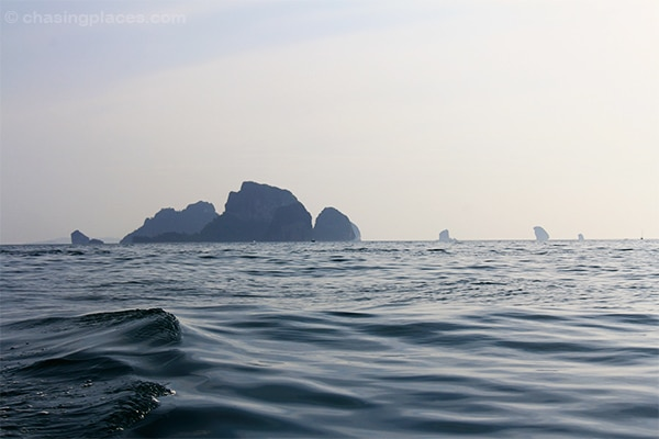 The picturesque limestone karts on the way from Ao Nang to Railay Beach