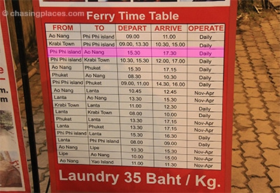 Ferry timetable as of the time of writing