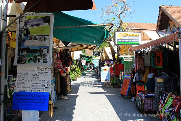 The narrow streets on Koh Phi Phi Don are loaded with service outlets catering to tourists