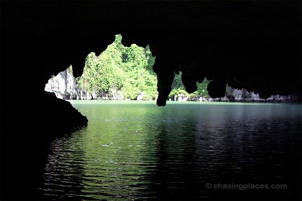 A cavernous passage that kayakers often travel through near tthe floating village