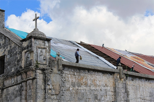 Fixing the old Baroque Church in Bantayan Town
