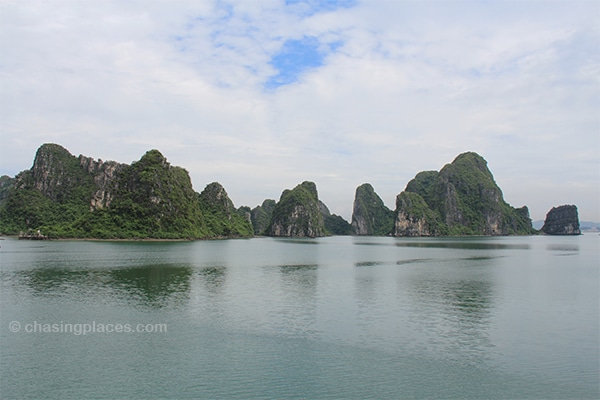 Limestone outcroppings on the way to Halong City