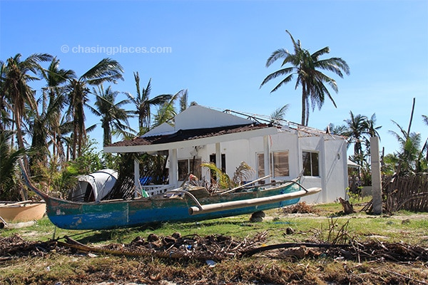 A cement house that lost its roof to Typhoon Haiyan