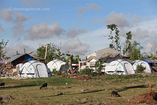 Donated tents are the temporary homes of locals on Bantayan Island