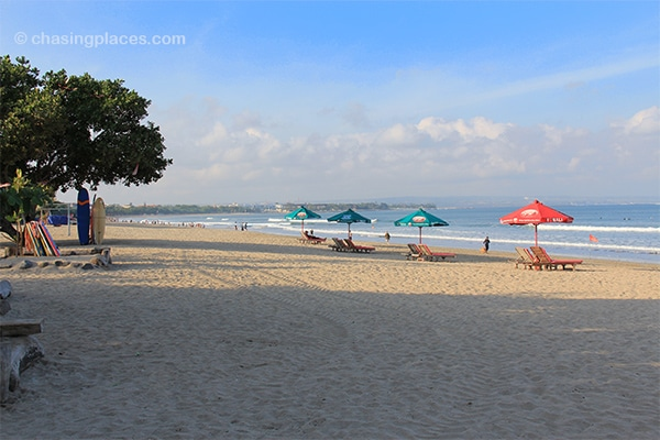 A view of Kuta Beach in the morning