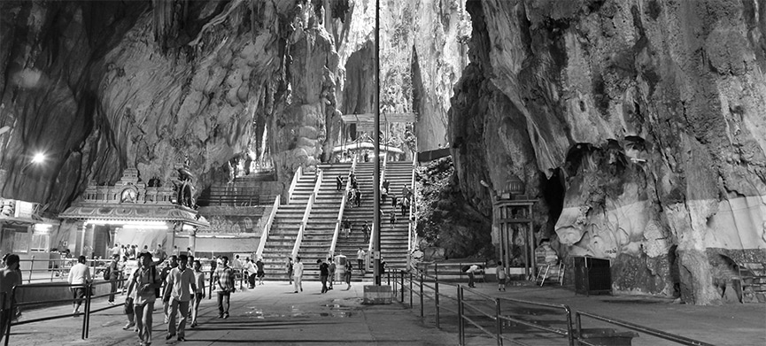 The cavernous interior of Cathedral Cave, one of the Batu Caves