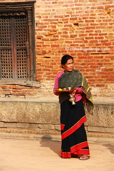 A resident of Bhakatpur within Durbar Square