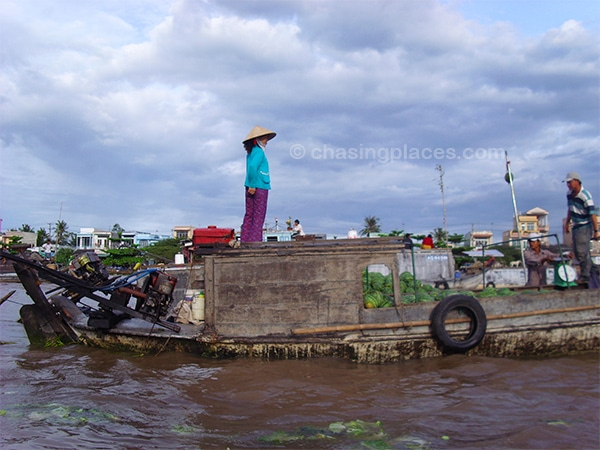 Navigating the Mekong with plenty of watermelons