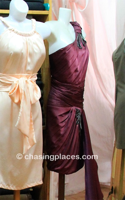 Sample dresses at a tailors in Hoi An