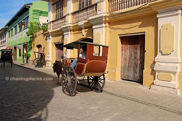 A calesa whisking through Vigan's historical district in the northern Philippines