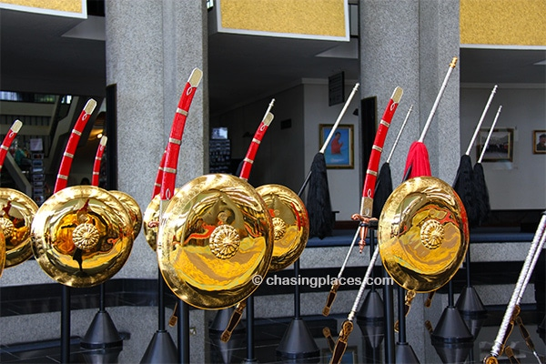 The carefully polished shields and swords in the Royal Regalia Museum
