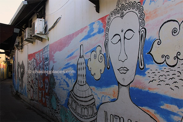 The narrow streets off of Jalan Malioboro are pleasantly decorated with murals