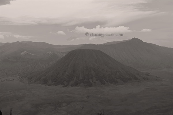 The view of Mount Bromo in the early morning