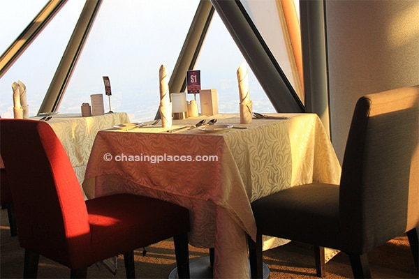 The tables in the revolving restaurant offer spectacular panoramic views of Kuala Lumpur