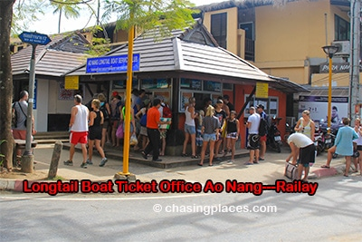 Ao Nang to Railay longtail-boat-ticket-office, Ao Nang Beach