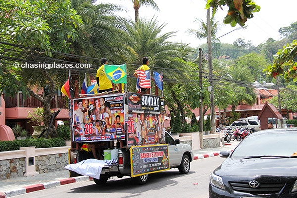 Be prepared for music belting from vehicles such as this as you ride around Phuket Island.