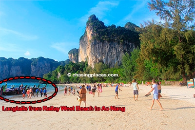 Longtails from Railay West Beach to Ao Nang, Railay Beach