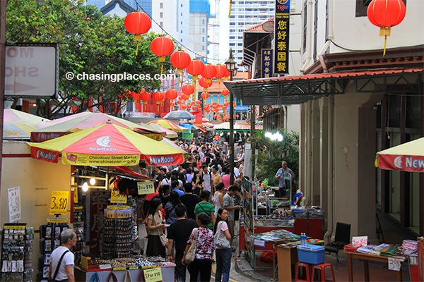 Bustling Chinatown in the late afternoon.