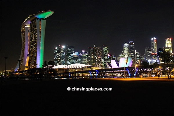 Marina Bay Sands and the famous Singapore Skyline directly across from the Flower Dome