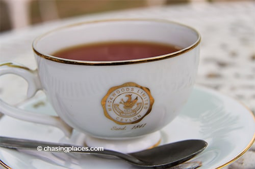 The complimentary cup at Mackwoods' Tea Factory