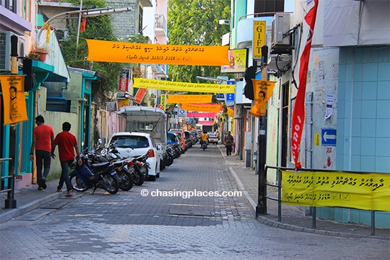 A narrow street in the Maldivian capital