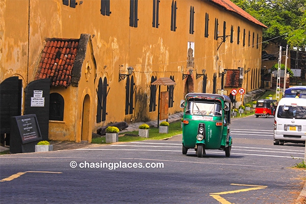 A tuk-tuk zipping along in Galle Fort