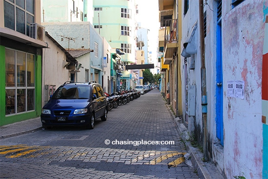 One of the quiet narrow streets in Male