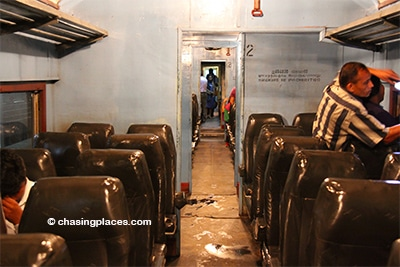 The second class cabin for the trip from Kandy to Galle