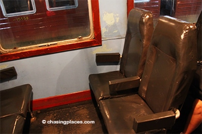 The second class seats on the train bound for Galle from Colombo