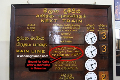 Train departure times in the morning from Kandy