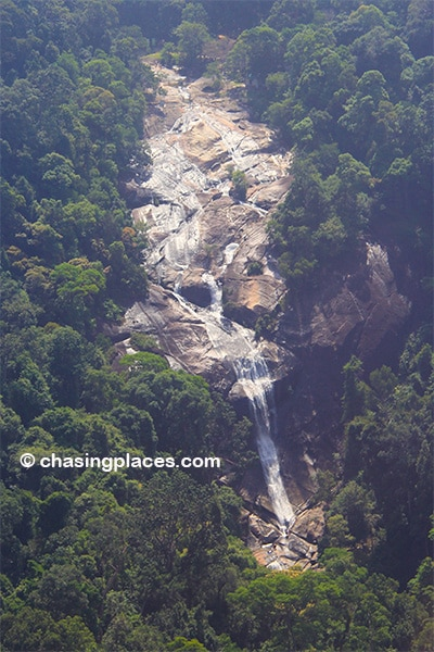 An aerial view of Seven Wells Waterfalls from the SkyCab