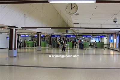 As usual once you arrive at the airport, proceed through immigration and customs