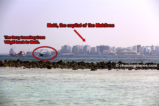 Get a glimpse of Male from the eastern shoreline of Viligili