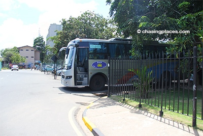 The bus waiting for passengers at the airport