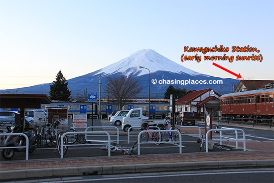The view of Mount Fuji, looming over Kawaguchiko Station during sunrise