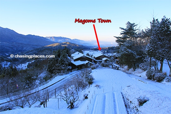 A look back at Magome en route to Tsumago on the Nakasendo Trail