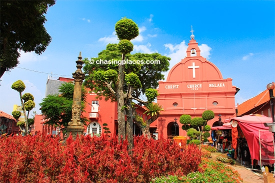 Dutch Square, with the gardens surrounding Christ Church is one of the most iconic spots in all of Melaka