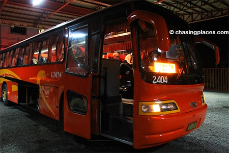The bus in Laoag which heads to Pagudpud