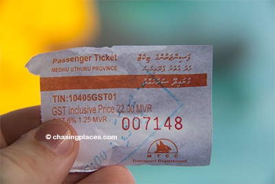 The ticket price to Maafushi Island from Malé at the time of travel