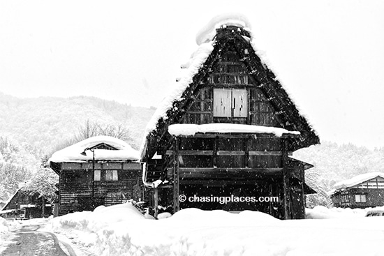 A Gassho Style home fighting the heavy snowfall in Shirakawa-go, Japan