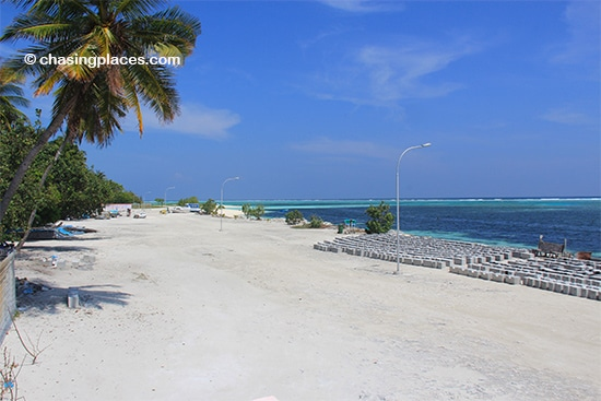 A glimpse of the northeastern shoreline of Maafushi Island