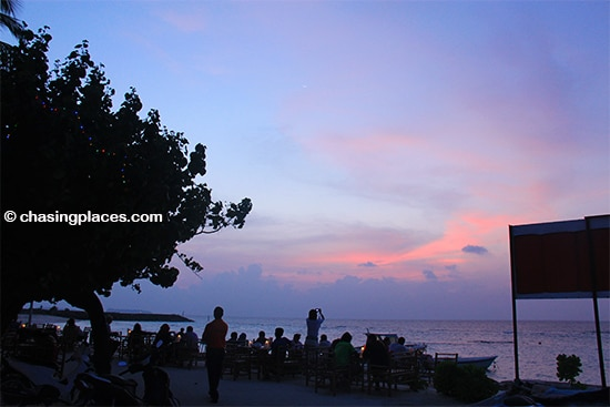 Be prepared for candle lit sunsets while on Maafushi Island