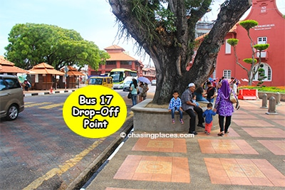 Bus 17 from Melaka Sentral will drop you off here at Dutch Square